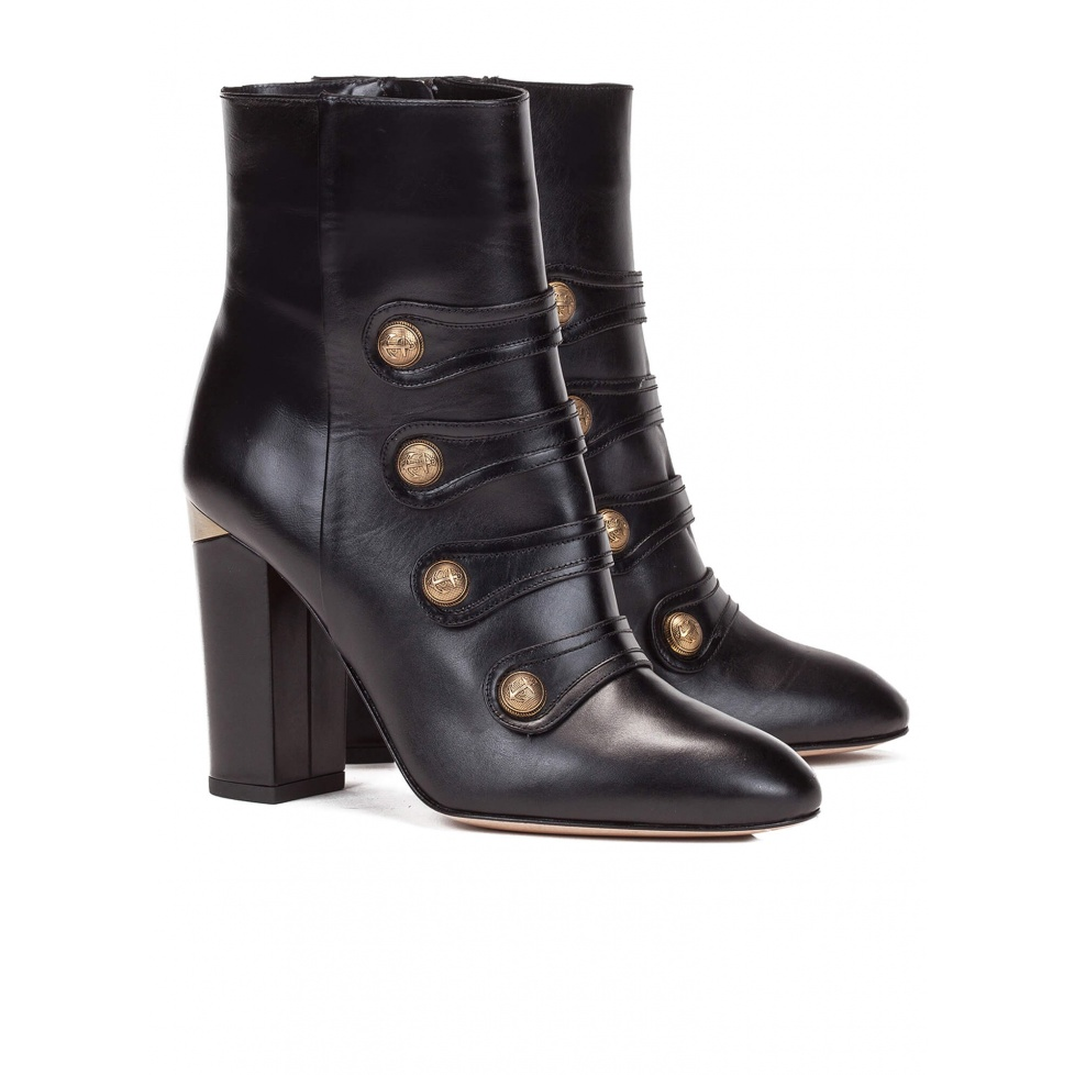 Black high block heel ankle boots - online shoe store Pura Lopez