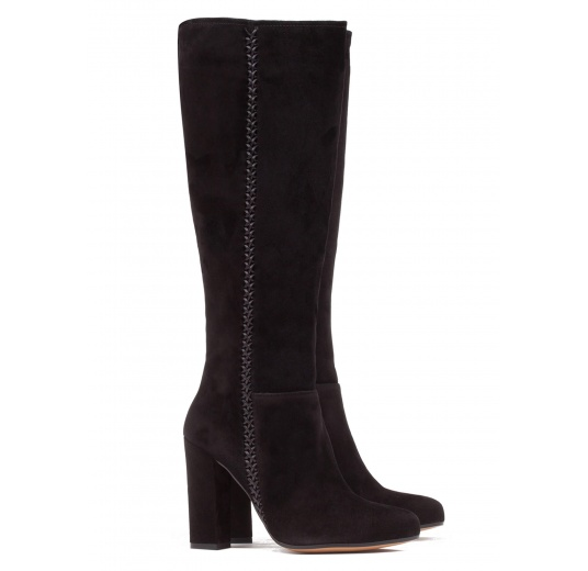 High block heel boots in black suede Pura López