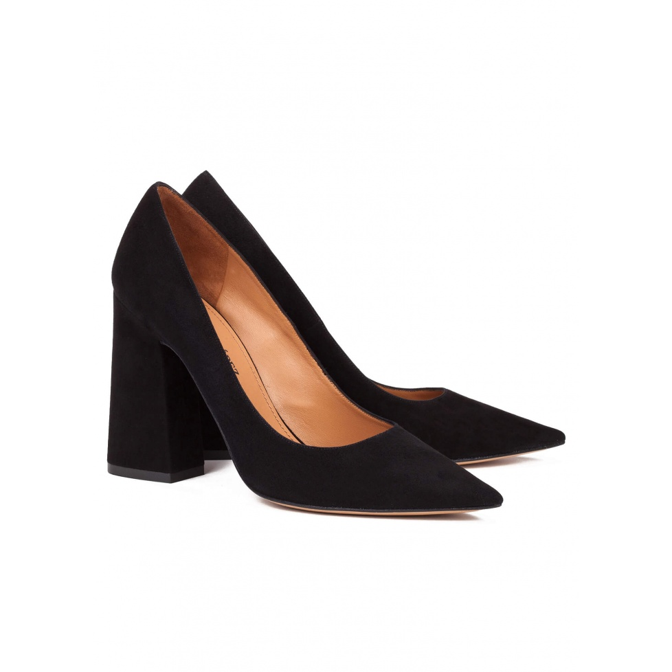 High block heel pumps in black suede - online shoe store Pura Lopez
