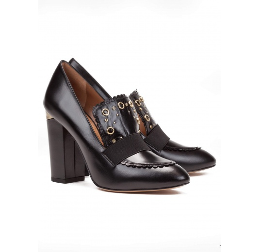 High block heel loafers in black leather Pura López