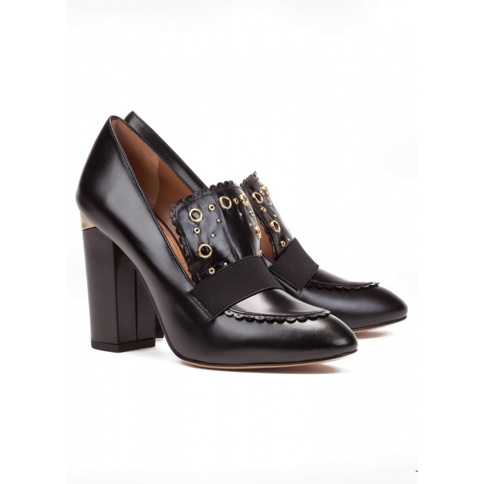 High heel loafers in black leather - online shoe store Pura Lopez
