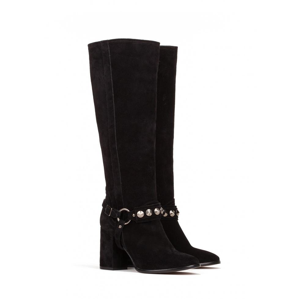 High heel boots in black suede - online store Pura Lopez