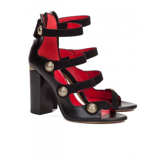 High block heel sandals in black leather with metal buttons Pura L�pez
