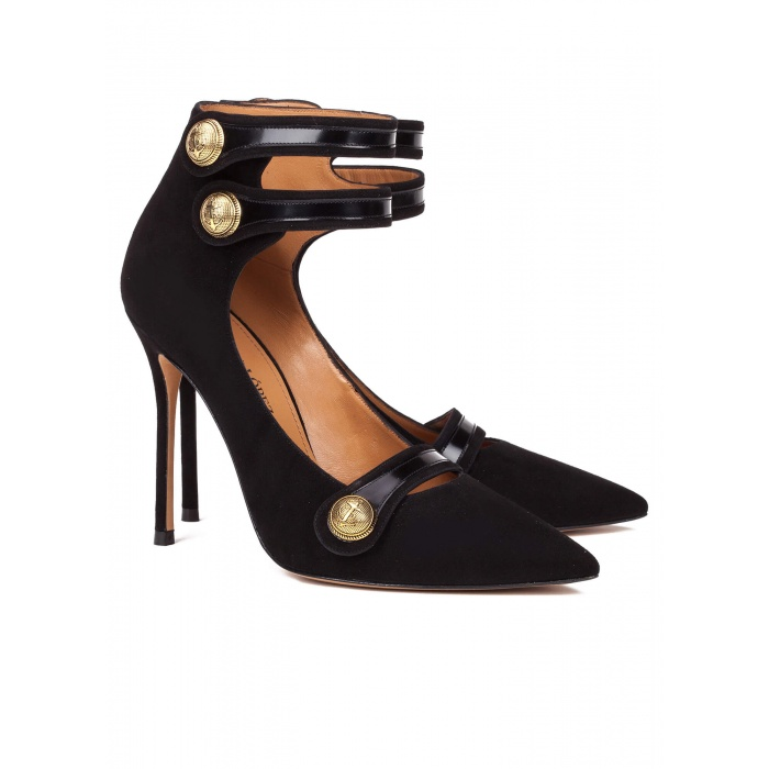 Black button high heel shoes - online shoe store Pura Lopez