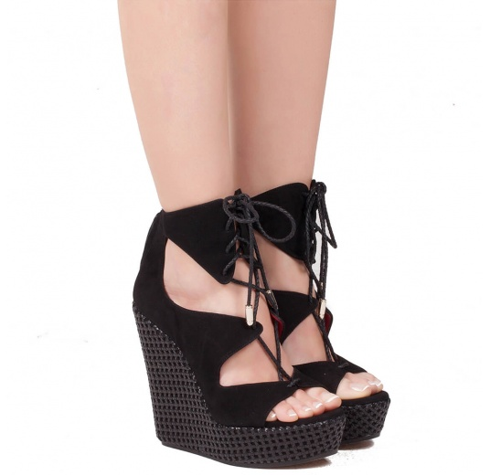 Lace-up wedge sandals in black suede Pura L�pez