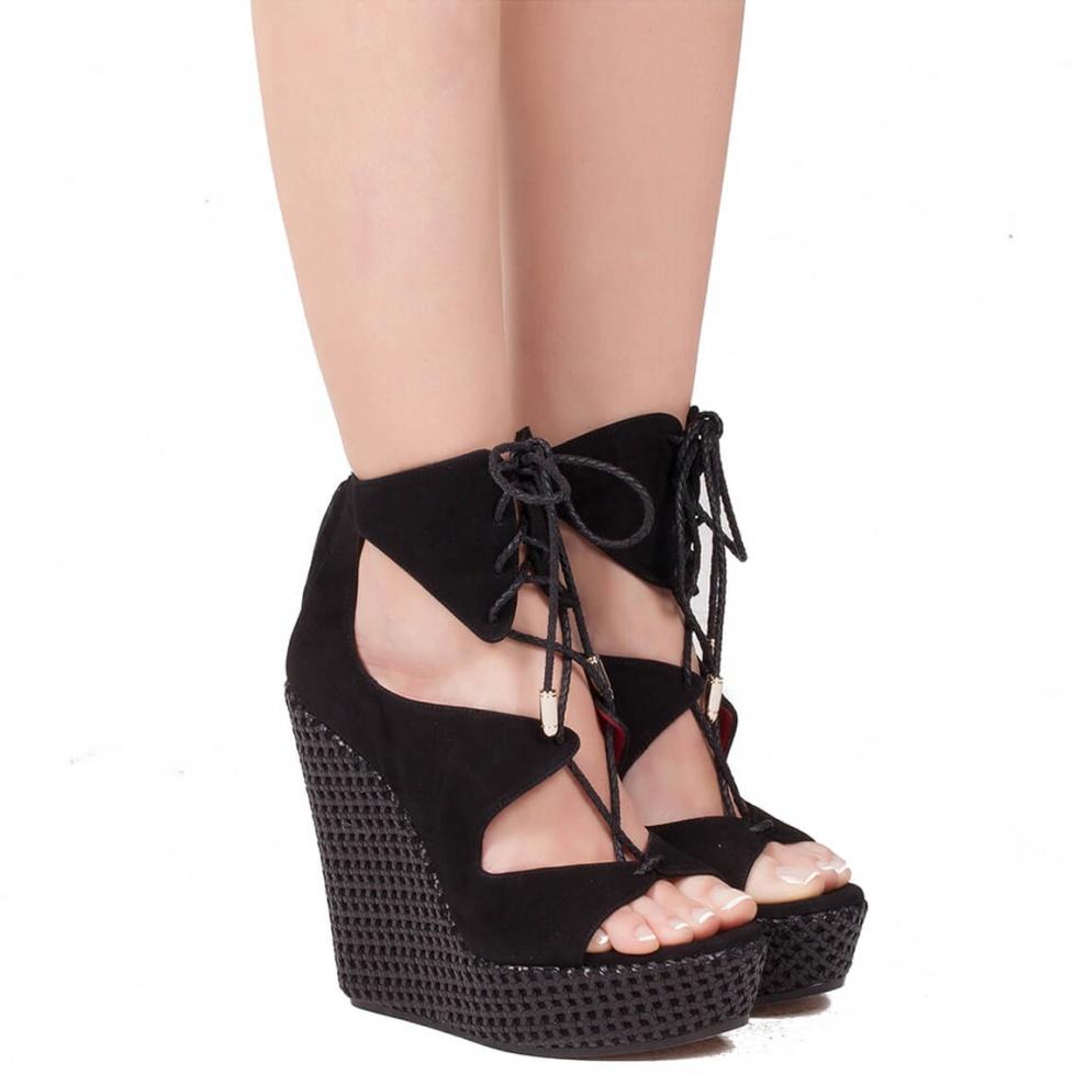 Wedge sandals in black suede - online shoe store Pura Lopez