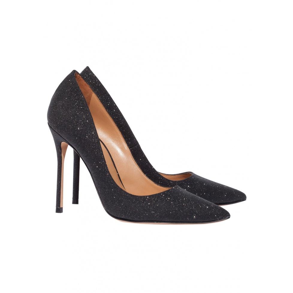 High heel pumps in black glitter - online shoe store Pura Lopez