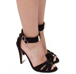 Double ankle strap high heel sandals in black suede Pura López