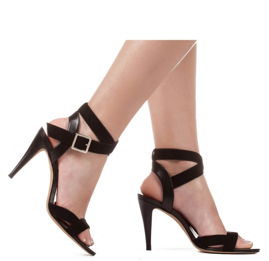 Strappy high heel sandals in black suede Pura L�pez