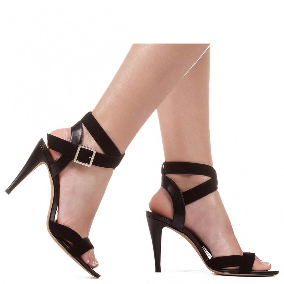 Black suede high heel sandals - online shoe store Pura Lopez