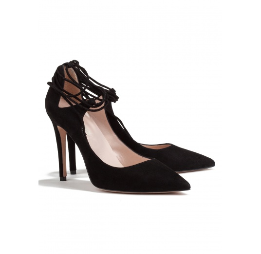 Lace up high heel pumps in black suede Pura L�pez