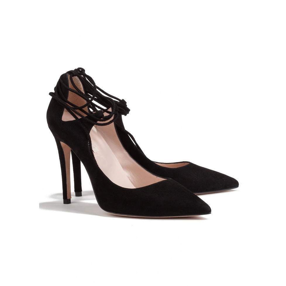 Lace up high heel pumps in black suede-online shoe store Pura Lopez