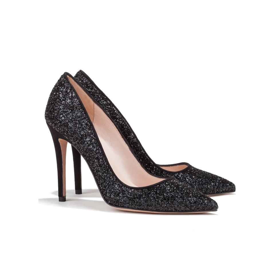 High heel pumps in black glitter - online shoe store Pura Lopez