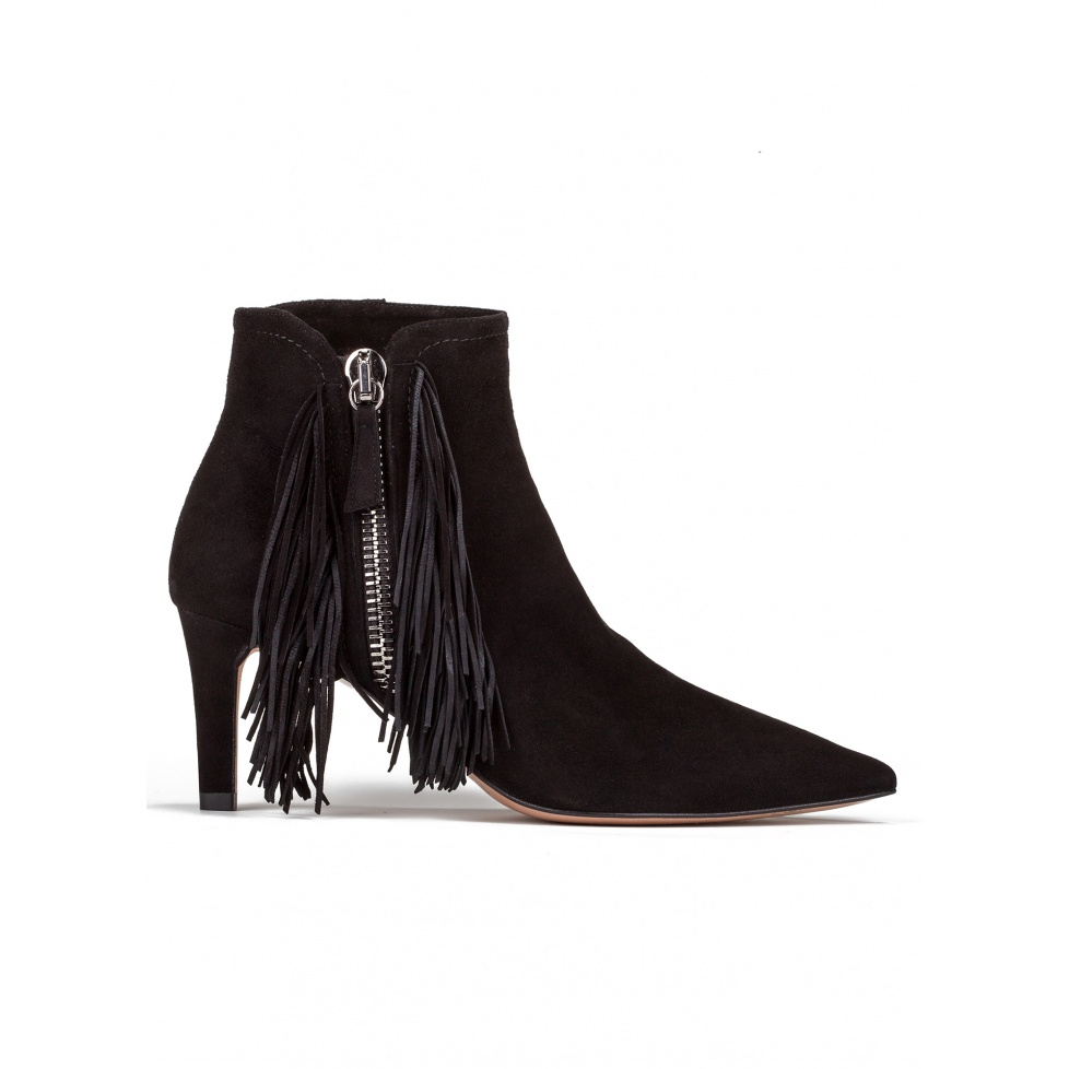 Fringed mid heel ankle boots in black suede