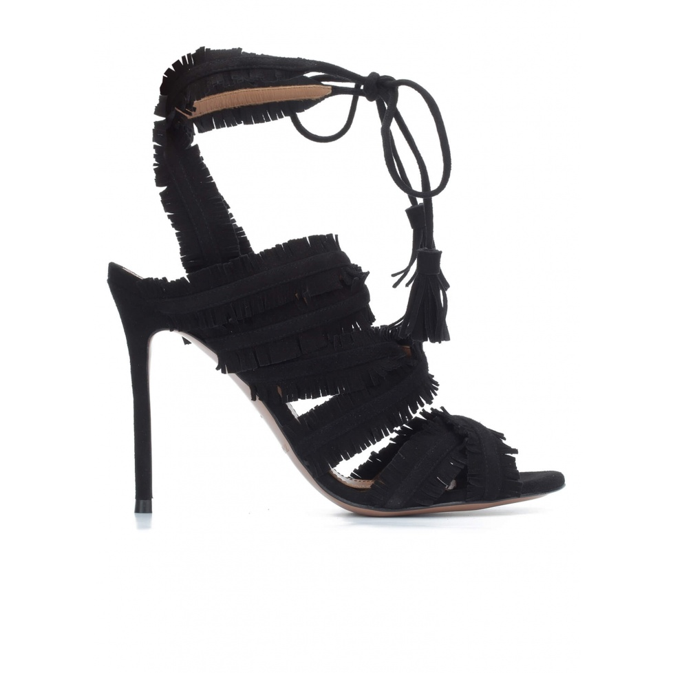 Fringed high heel sandals in black suede