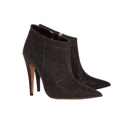 High heel ankle boots in black glitter Pura López