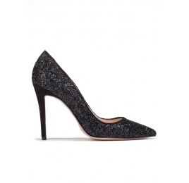 High heel pumps in black glitter Pura López