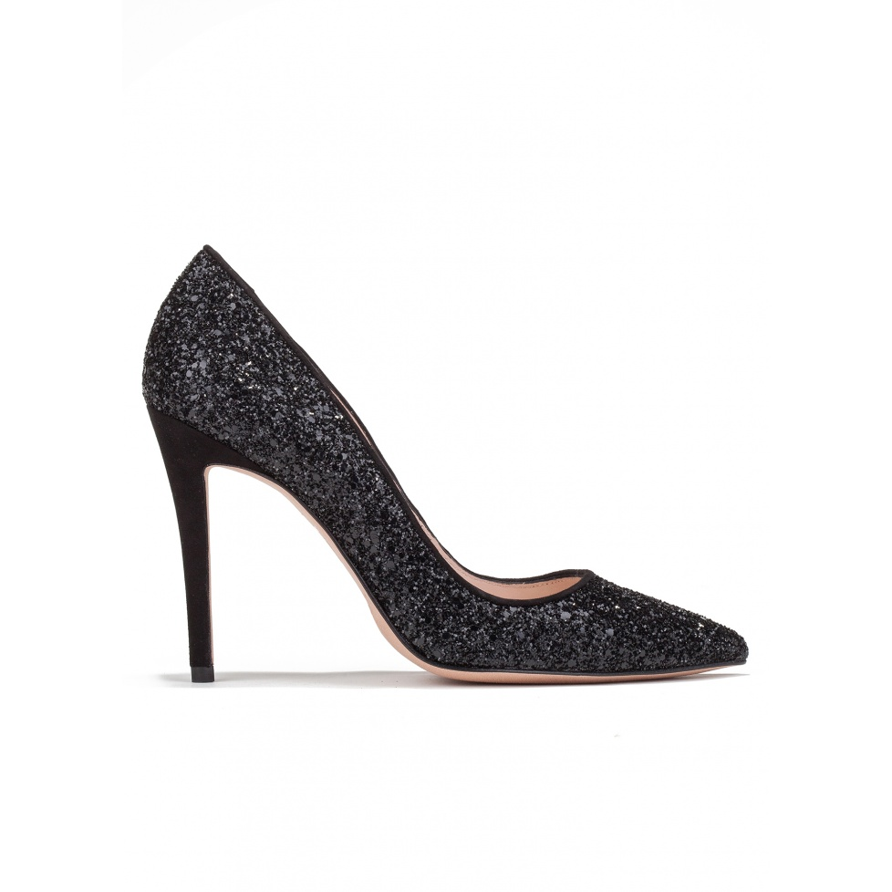 High heel pumps in black glitter