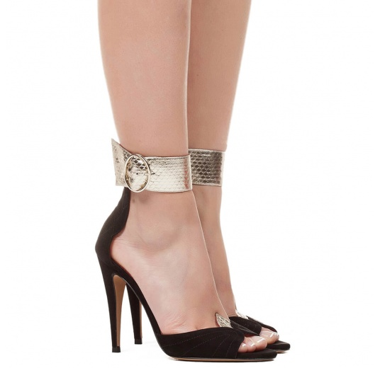 Ankle strap high heel sandals in suede and leather with leaf detailed heel Pura L�pez