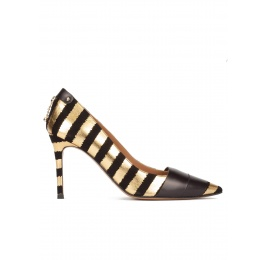 Gold-black striped pointy toe high heel pumps Pura López