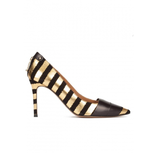 Gold-black striped pointy toe high heel pumps Pura L�pez