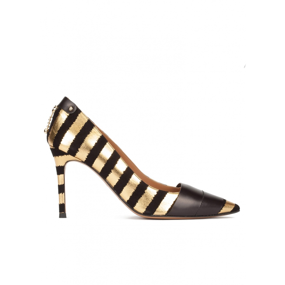 Gold-black striped pointy toe high heel pumps