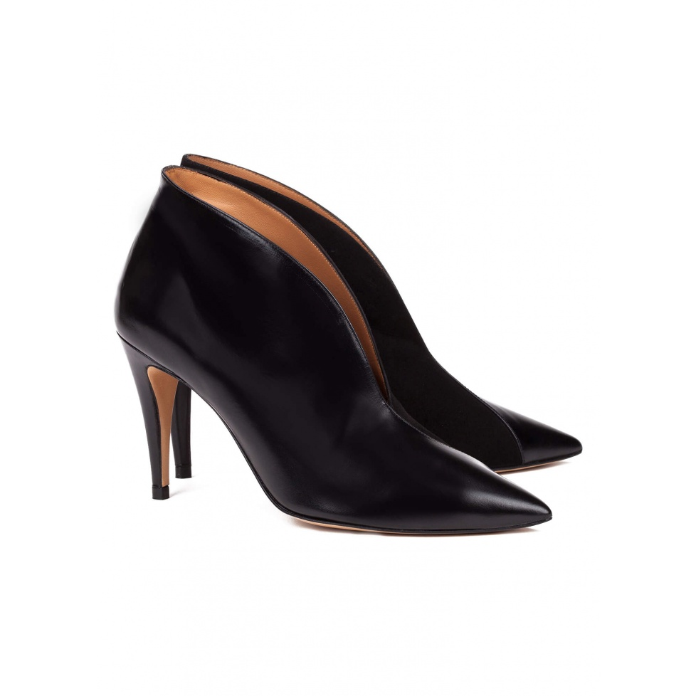 Black leather high heel ankle boots - online shoe store Pura Lopez