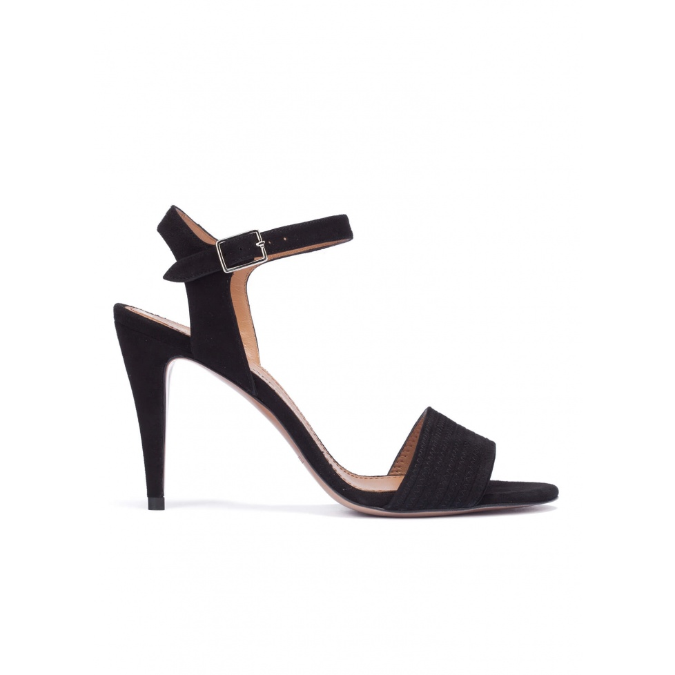 Ankle strap heeled sandals in black suede