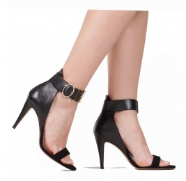 High heel sandals in black suede and leather with metal details Pura López