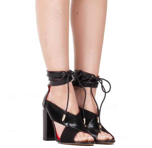 Lace-up high block heel sandals in black suede and leather Pura L�pez