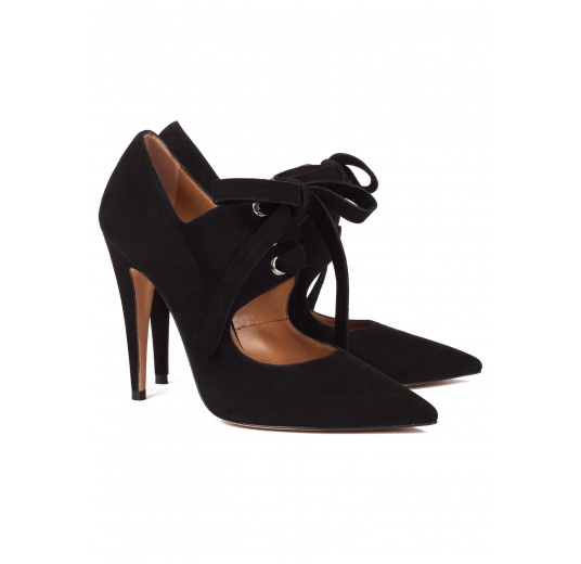 Lace-up high heel shoes in black suede Pura López