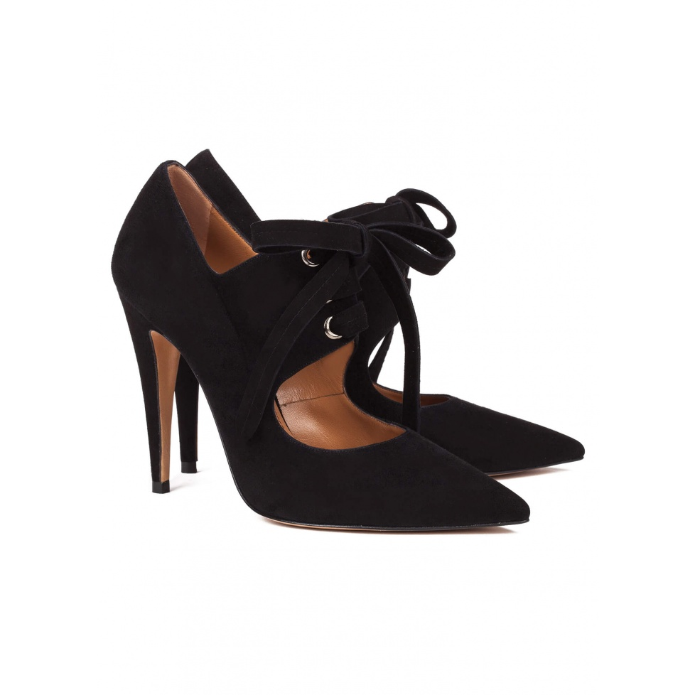 Black lace-up high heel shoes - online shoe store Pura Lopez