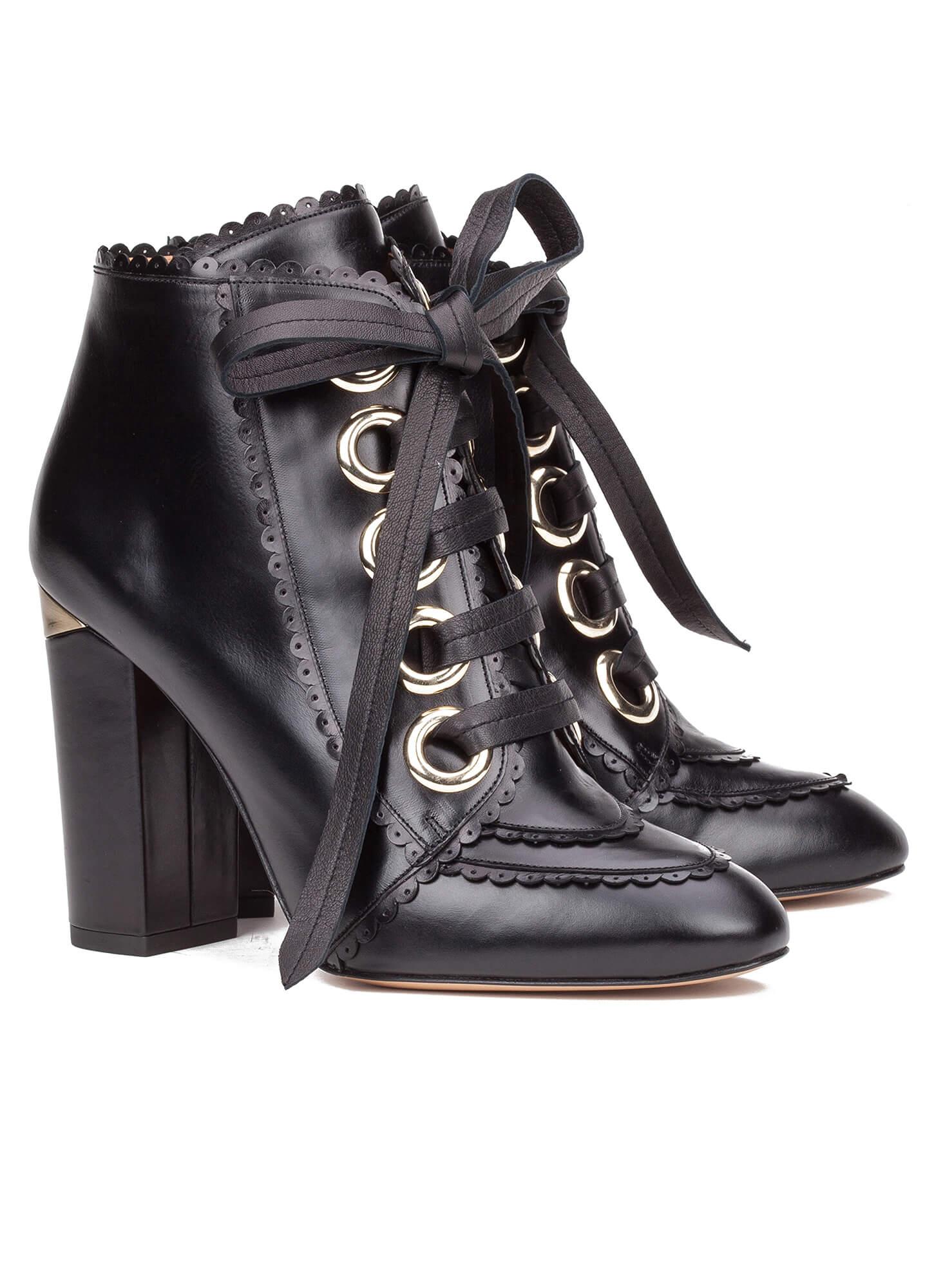 b4e7cece43787 Black lace-up heeled ankle boots - online shoe store Pura Lopez ...