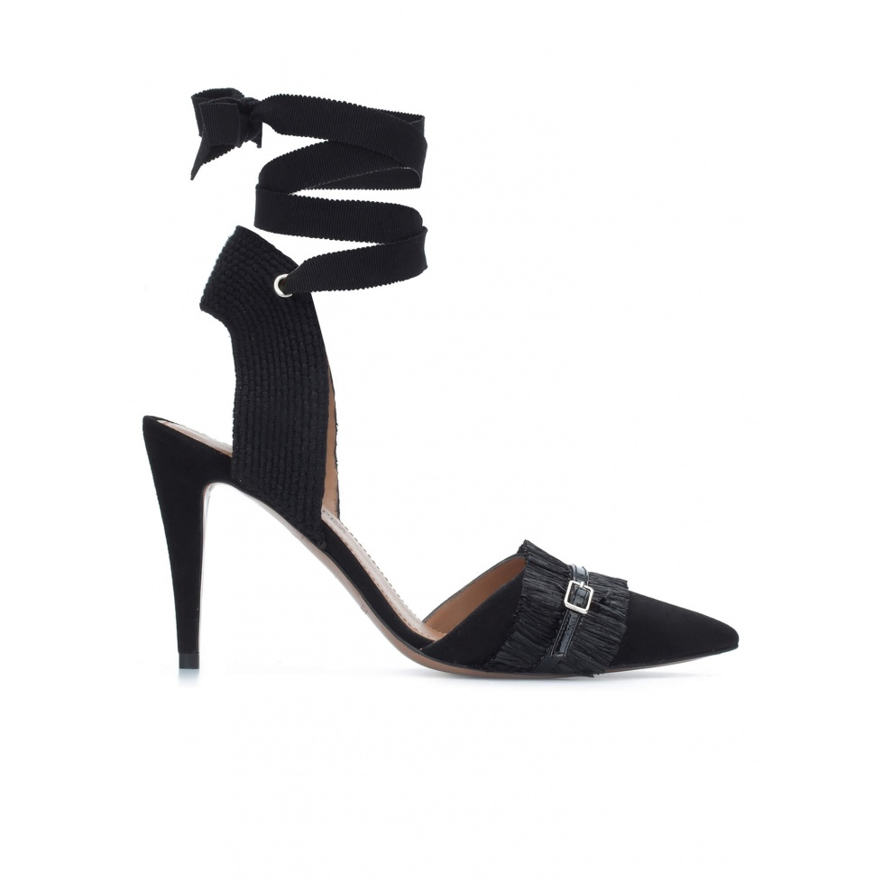 Black slingback high heel shoes