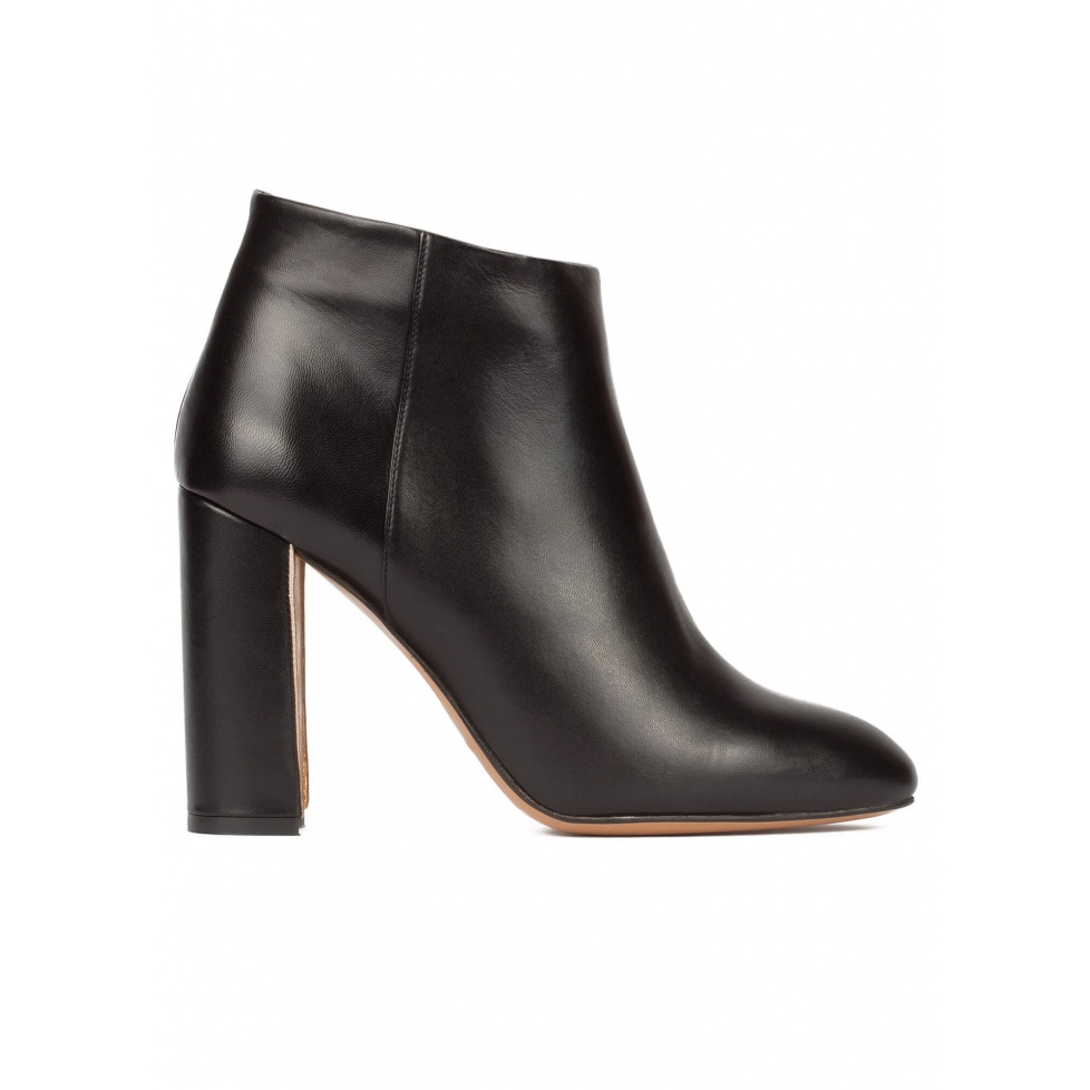Black leather high chunky heel ankle boots