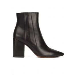 Black leather high chunky heel pointed toe ankle boots Pura López