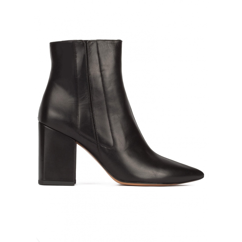 Black leather high chunky heel pointed toe ankle boots
