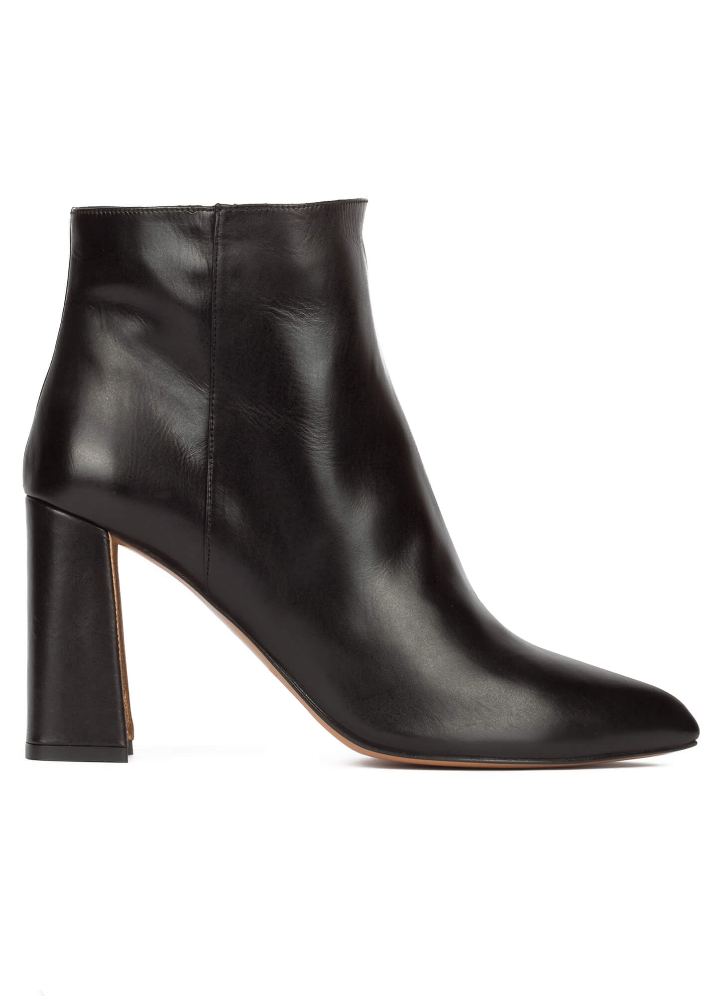 Black leather high block heel ankle boots . PURA LOPEZ