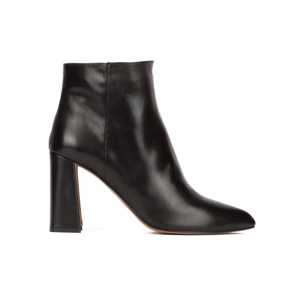 High block heel ankle boots in black calf leather