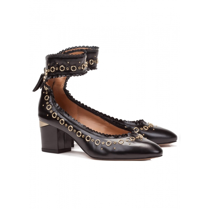 Mid heel shoes in black leather - online shoe store Pura Lopez