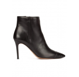 Black high heel pointy toe ankle boots with patent toe Pura López