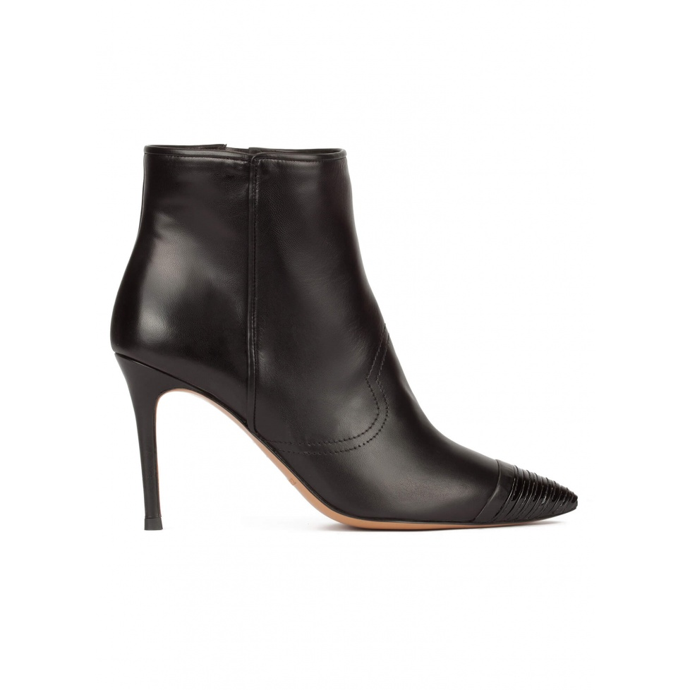 Black high heel pointy toe ankle boots with patent toe