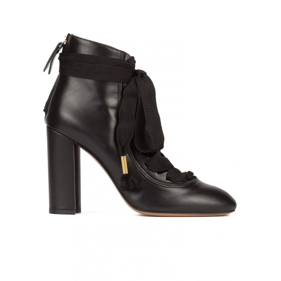 Black leather lace-up high block heel shoes