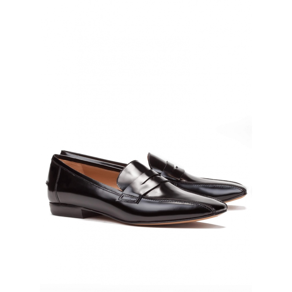 Black leather flat loafers - online shoe store Pura Lopez