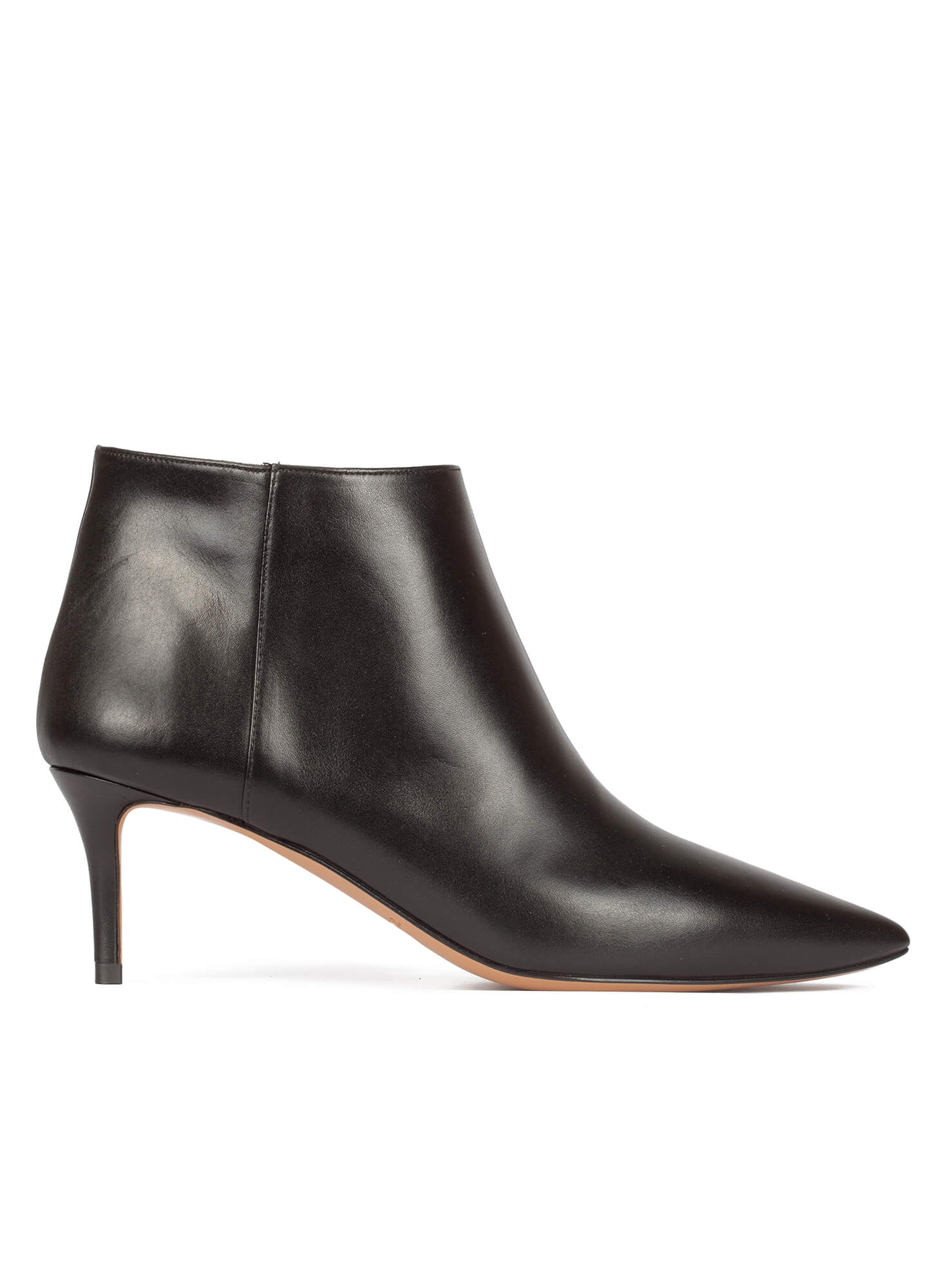 Black leather mid heel ankle boots - online shoe store Pura Lopez ...