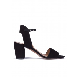 Mid block heel sandals in black suede Pura López