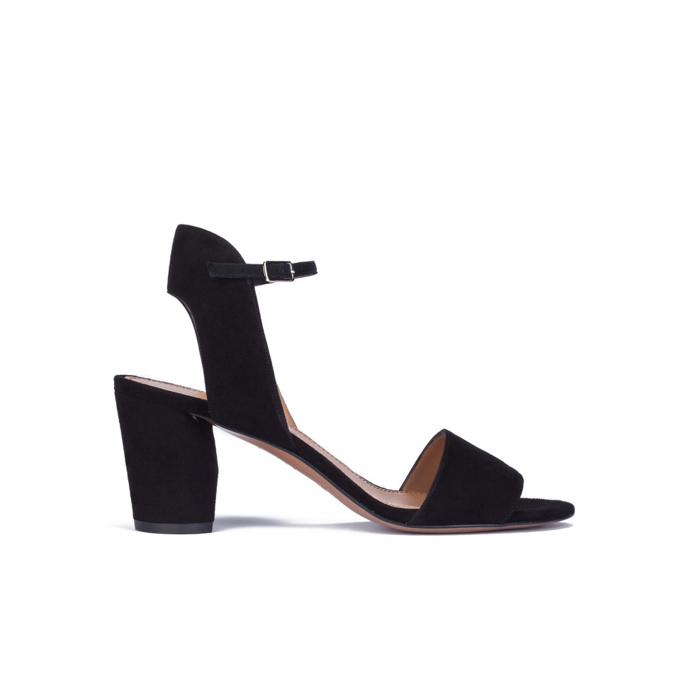 Mid block heel sandals in black suede