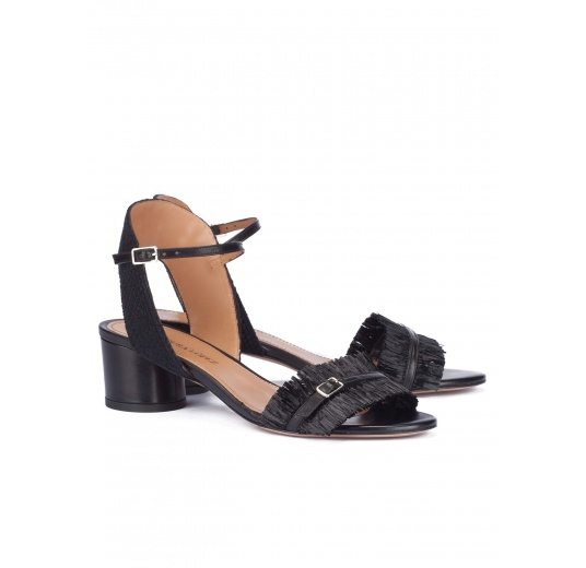 Black fringed mid block heel sandals Pura L�pez