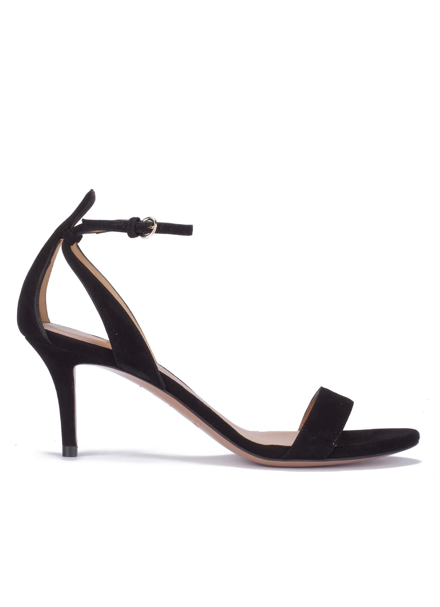 Mid heel sandals in black suede