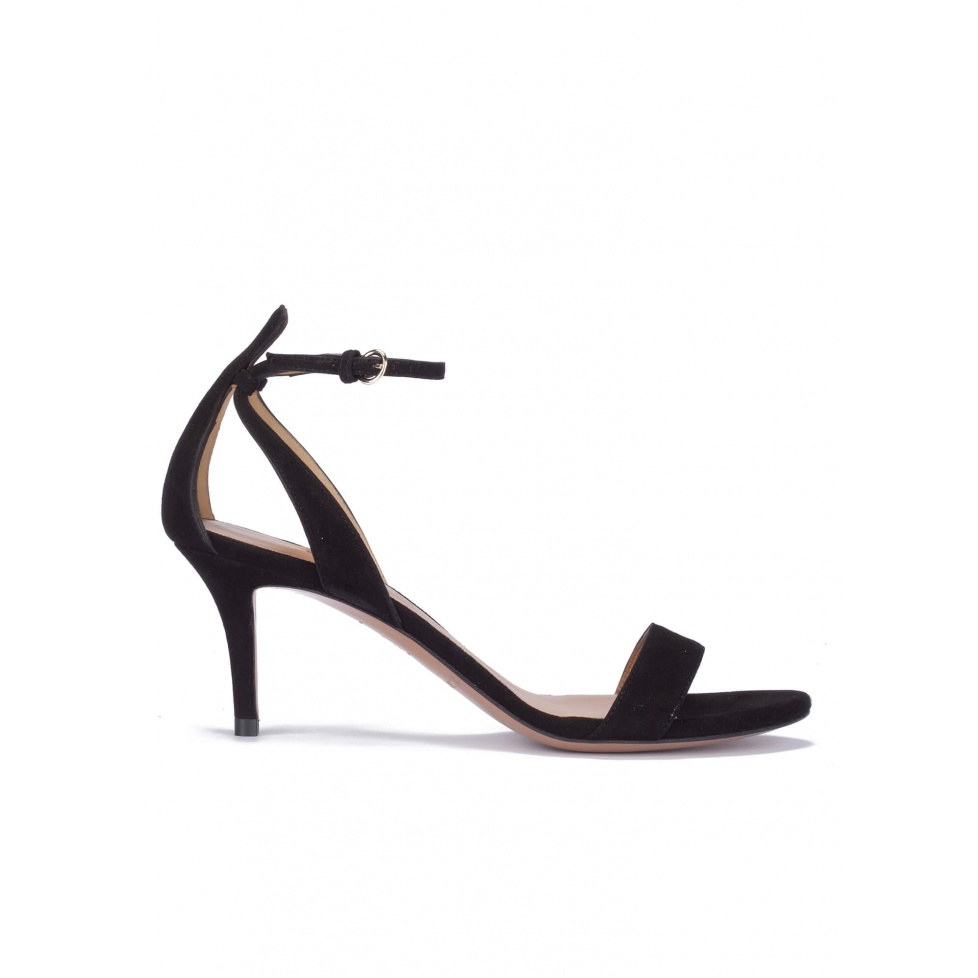 Black suede ankle strap mid heel sandals